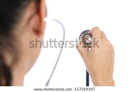 Back view of a female doctor using a stethoscope isolated on a white background
