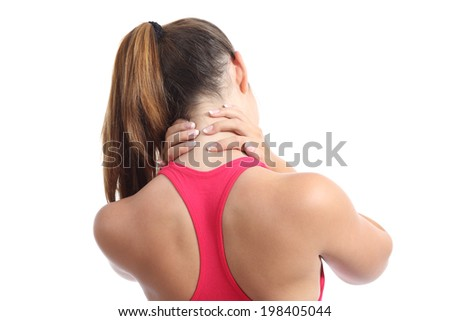 Back view of a fitness woman with neck pain isolated on a white background - stock photo