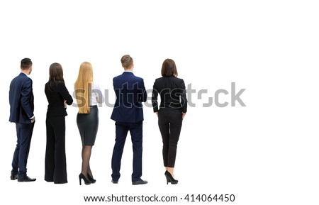 Back view of a Group of business team. Isolated on white background. - stock photo