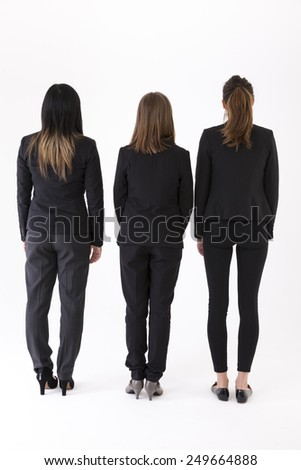 Back view of a Group of Businesswomen. Isolated on a white background.