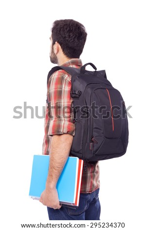 Back view of a male student, isolated on white background - stock photo