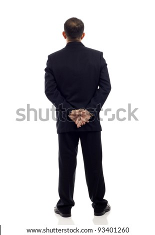 Back view of a middle aged Asian businessman isolated on white background