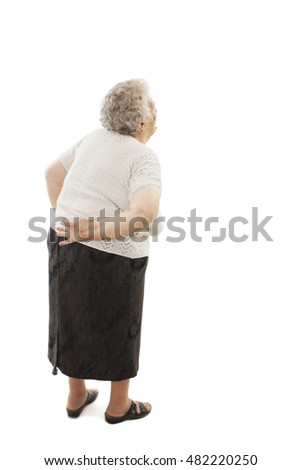 Back view of a old woman with a cane looking up. Rear view people collection. Isolated on white background