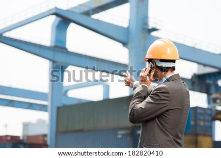 Back view of a port inspector pointing at the object while talking by cellphone - stock photo