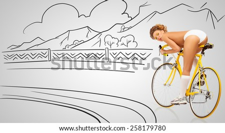 Back view of a sexy pin-up female cyclist in white erotic panties riding a yellow racing bicycle on sketchy nature background. - stock photo