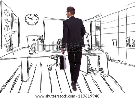 back view of a walking business man holding a briefcase and looking to his side on an office-like sketched background - stock photo