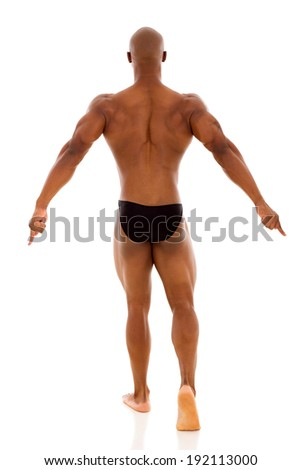 back view of african muscular man isolated on white background - stock photo