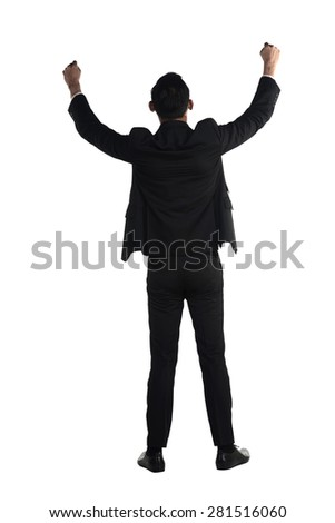 Back view of asian business man raise hand isolated over white background