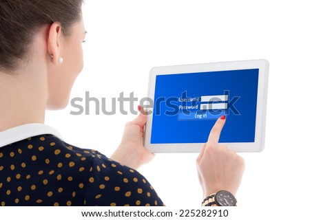back view of beautiful business woman using email in internet with tablet pc isolated on white background - stock photo
