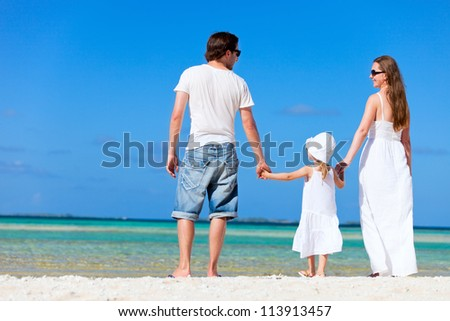 Back view of beautiful family on tropical beach