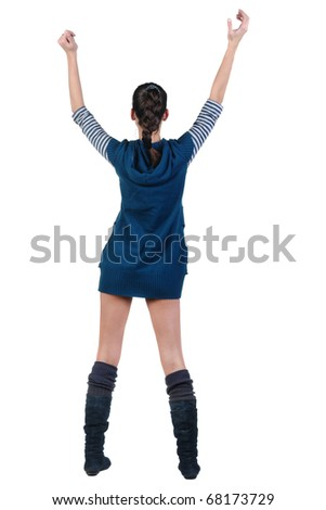 Back view of beautiful young woman with the hands lifted in top. Rear view. Isolated over white background.