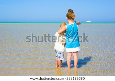 Back view of brother and sister at tropical beach - stock photo