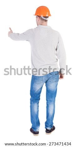 Back view of builder in helmet shows thumbs up.   Rear view people collection.  backside view of person.  Isolated over white background. - stock photo
