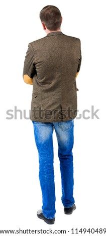 Back view of business man in jacket with patches on the sleeves. solated over white background.  Standing young guy in jeans and suit jacket. Rear view people collection.  backside view of person.
