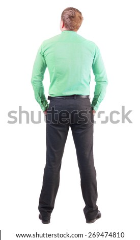 back view of business man  in red shirt looks ahead. Rear view people collection.  backside view of person.  Isolated over white background. office worker with a sports figure looks away - stock photo