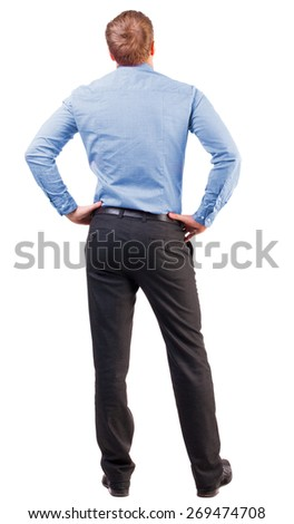 back view of Business man  looks ahead. Young guy in pink shirt watching.  Rear view collection.  Isolated over white background. broad-office worker put his hands on his hips thoughtfully reflects - stock photo