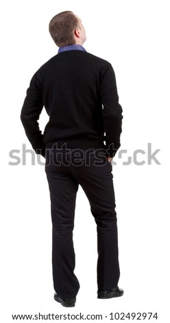 back view of Business man  looks ahead. Young guy in sweater watching.  Rear view people collection.  backside view of person.  Isolated over white background.