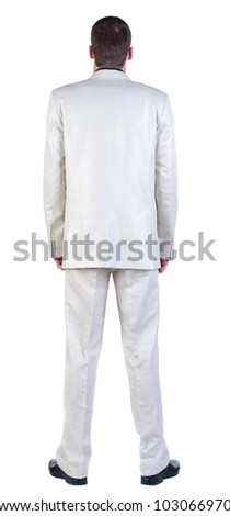 back view of Business man  looks ahead. Young guy in white suit watching.   Rear view people collection.  backside view of person.  Isolated over white background.
