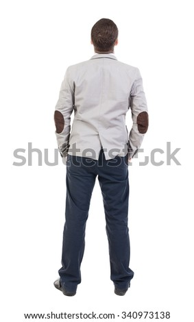 back view of Business man  looks.  Rear view people collection.  backside view of person.  Isolated over white background.  Sad man looking upward with his hands in his pockets. - stock photo