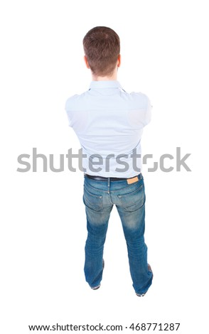 back view of Business man  looks.  Rear view people collection.  backside view of person.  Isolated over white background. businessman in white shirt standing with his hands on his chest. view from