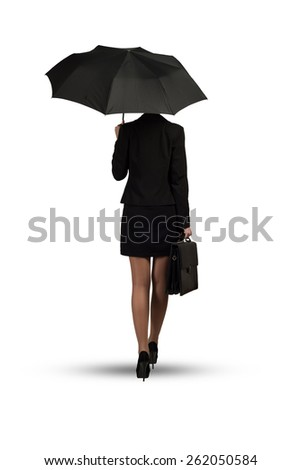 Back view of business woman holding umbrella isolated on white background - stock photo