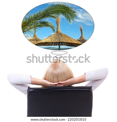 back view of business woman sitting on office chair and dreaming about vacation isolated on white background - stock photo
