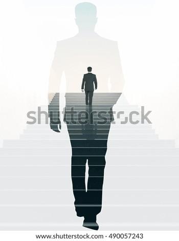 back view businessman climbing stairs walkingの写真素材