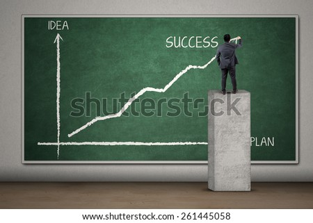 Back view of businessman drawing a plan statistics to get success