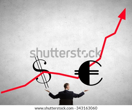 Back view of businessman hold growth arrow graph