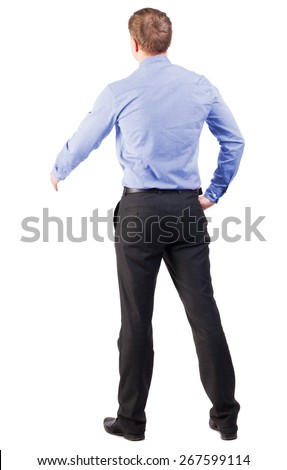 back view of businessman in red shirt out to shake hands. backside view of person. manager extends his hand in greeting. Isolated over white background. cocky office worker greets someone - stock photo
