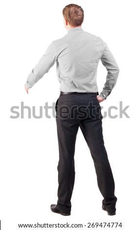 back view of businessman in red shirt out to shake hands. manager extends his hand in greeting. Isolated over white background. cocky office worker greets someone - stock photo