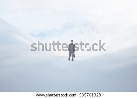 Back view of businessman lost in snowy desert. Failure concept. 3D Rendering