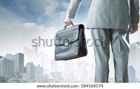 Back view of businessman with suitcase in hand - stock photo