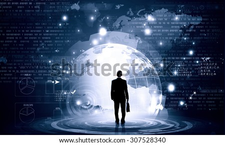 Back view of businessman with suitcase in hands looking at virtual panel - stock photo