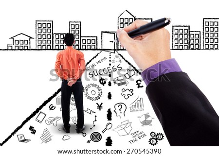 Back view of businessperson standing on a road with business planning doodles and looking at a door - stock photo