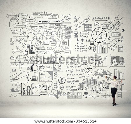 Back view of businesswoman drawing plan sketch on wall