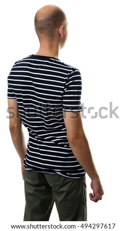 Back view of casual bald young man isolated on white background