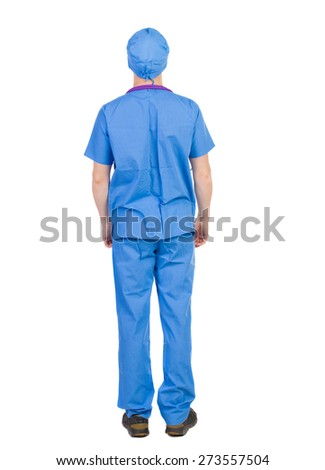 Back view of doctor in robe. Standing young guy. Rear view people collection.  backside view of person.  Isolated over white background. The nurse rushes to the aid - stock photo