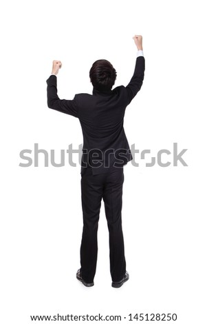 Back view of Excited business man with arms raised in full length Isolated on white background, mode is a asian people - stock photo