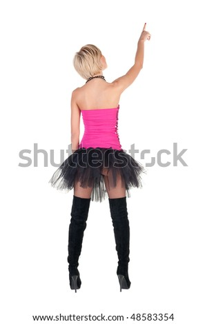 Back view of extravagant blonde in  crown pointing. Rear view . Isolated over white background.