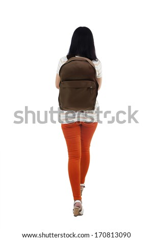 Back view of female student walking, isolated on white background - stock photo