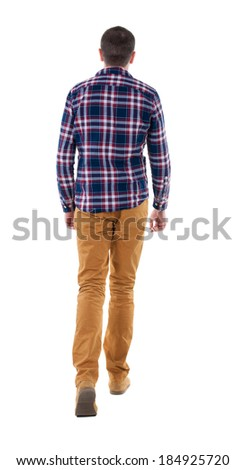 Back view of going  handsome man in checkered shirt. walking young guy . Rear view people collection.  backside view of person.  Isolated over white background. - stock photo