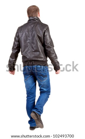 Back view of going  handsome man in jacket.  walking young guy in jeans and  jacket. Rear view people collection.  backside view of person.  Isolated over white background. - stock photo