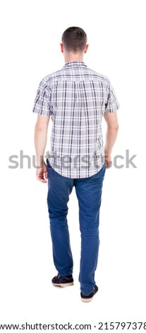 Back view of going  handsome man in jeans and a shirt.  walking young guy . Rear view people collection.  backside view of person.  Isolated over white background. - stock photo
