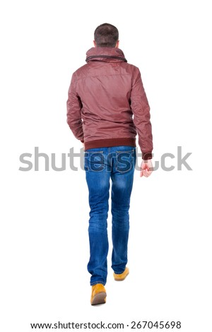 Back view of going  handsome man in jeans and jacket.  walking young guy . Rear view people collection.  backside view of person.  Isolated over white background. - stock photo