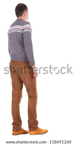 Back view of going  handsome man in jeans and sweater.  walking young guy in jeans and  jacket. Rear view people collection.  backside view of person.  Isolated over white background. - stock photo
