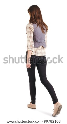 back view of going woman . gir. in motion. Rear view people. Isolated over white background. - stock photo