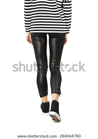 Back view of going woman. Girl in motion. Rear view people. Isolated over white background. - stock photo