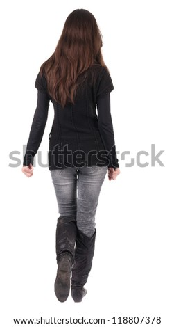 back view of going  woman  in  in jeans and black sweater. beautiful brunette girl in motion.  backside view of person.  Rear view people collection. Isolated over white background. - stock photo