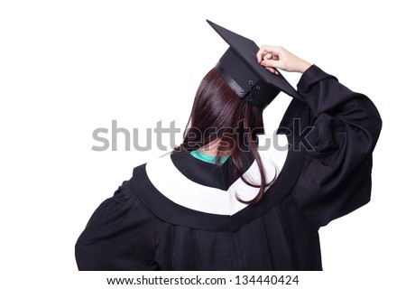 back view of graduate student girl thinking in an academic gown isolated on white background, asian beauty